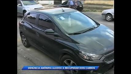 Denúncia anônima ajudou a recuperar dois carros