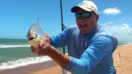 Isca de camarão lameirão e peixe na ponta da linha