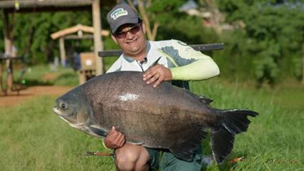 Capturando gigantes peixes na Fazenda Pacu
