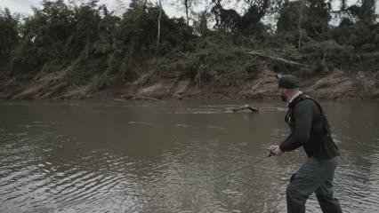 Piraputanga com stick no Rio Miranda
