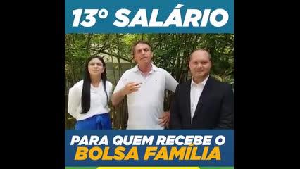 Bolsonaro propõe 13º a beneficiários do Bolsa Família