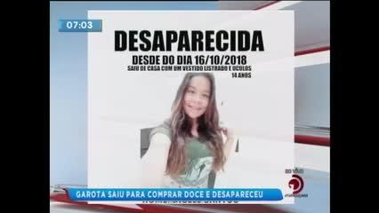 Adolescente de 14 anos está desaparecida desde a noite da última terça-feira