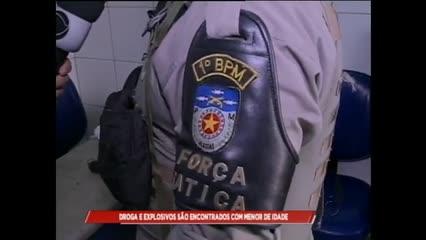 Drogas e explosivos são encontrados com menor de idade
