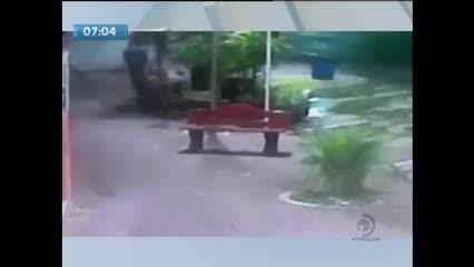 Câmeras de segurança flagram o momento em que um morador de rua é assassinado