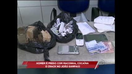 Um homem de 34 anos foi preso com maconha, cocaína e crack no conjunto João Sampaio II