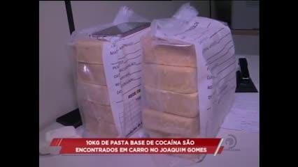 10 Kg de pasta base de cocaína são encontrados em um carro, em Joaquim Gomes
