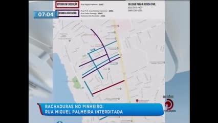 Rachaduras no Pinheiro: Rua Miguel Palmeira será interditada para pesquisas