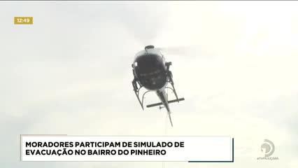 Moradores participaram de simulado de evacuação no Pinheiro