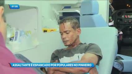 Assaltante foi espancado por populares no Pinheiro