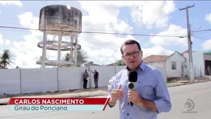 Casal começou a demolir caixa d'água em Girau Ponciano