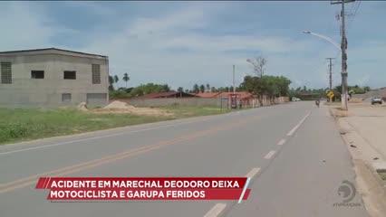 Acidente em Marechal Deodoro deixa motociclista e garupa feridos