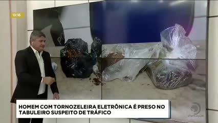 Homem com tornozeleira eletrônica foi preso no Tabuleiro suspeito de tráfico