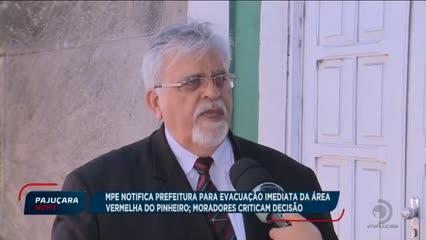 MPE notifica prefeitura para evacuação imediata da área vermelha do Pinheiro
