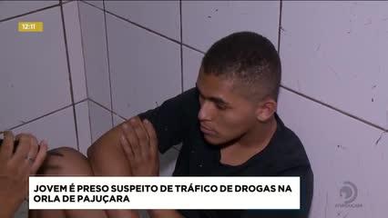 Jovem foi preso suspeito de tráfico de drogas na orla de Pajuçara