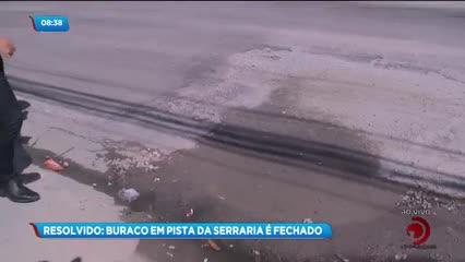 Após reportagem, buraco foi fechado na Av. Presidente Getúlio Vargas, na Serraria