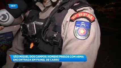 Três homens foram presos com veículo clonado e uma arma de fogo em São Miguel dos Campos