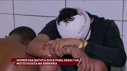 Homem usa batata doce para assaltar mototaxista na Serraria