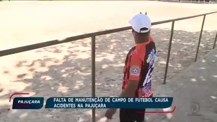 Falta de manutenção de campo de futebol causa acidentes na Pajuçara