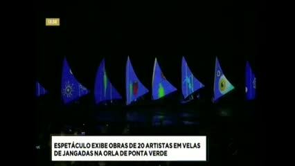 Espetáculo exibe obras de 20 artistas em velas de jangadas na orla de Ponta de Verde