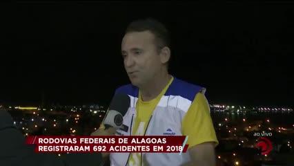 Rodovias federais de Alagoas registraram 692 acidentes em 2018