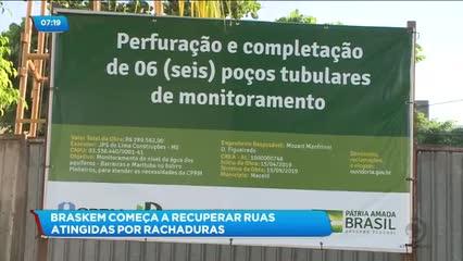 Braskem inicia trabalho de recuperação de ruas atingidas por rachaduras no Pinheiro