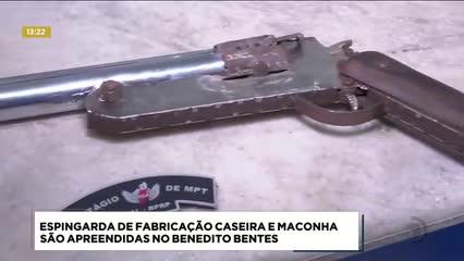 Espingarda de fabricação caseira e maconha foram apreendidas no Benedito Bentes