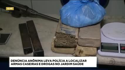 Duas armas caseiras, munições e drogas foram apreendidas em residência, no Conjunto Jardim Saúde