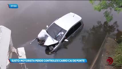 Motorista perdeu o controle do veículo e caiu da ponte do Mirante da Sereia
