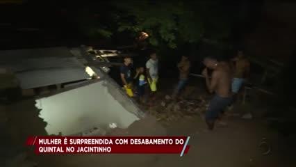 Mulher é surpreendida com desabamento do quintal no Jacintinho