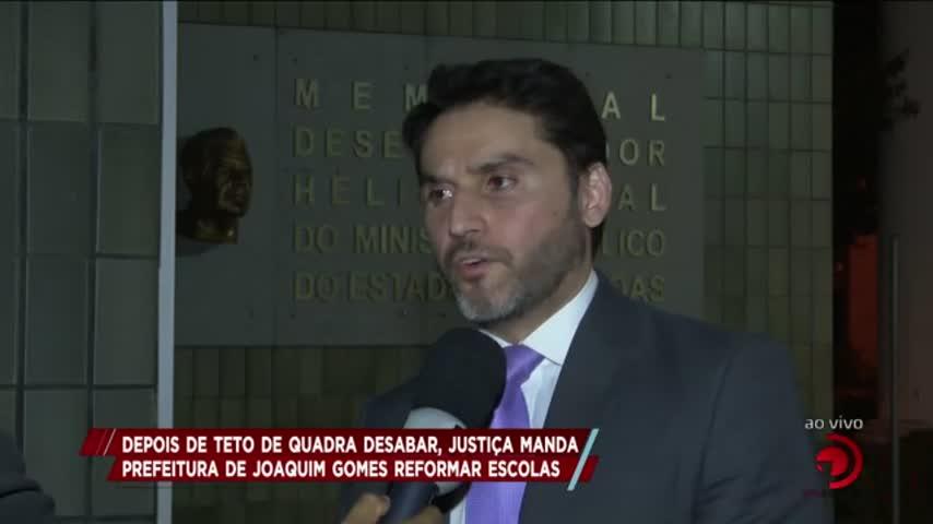 Depois de teto de quadra desabar, Justiça manda prefeitura de Joaquim Gomes reformar escolas